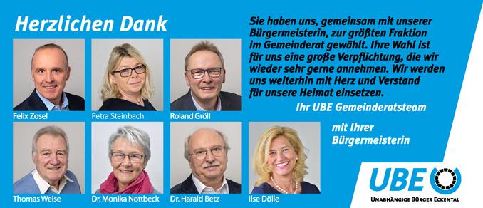 """UBE Marktgemeinderäte sagen """"Danke""""!"""